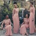 Elegant Long Sleeve Pink Blush Bridesmaid Dresses Long Off Shoulder Slit on Back Wedding Guest Dresses Chiffon Prom Gowns B71