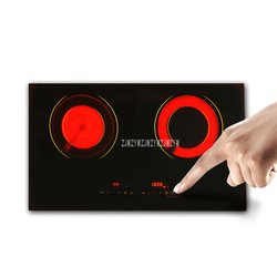 220V 2200Wx2 Electric Ceramic Induction Cooker Cooktop Cookware Black Micro Crystal Panel Ceramic Stove With 2 Cooker MD-H2002