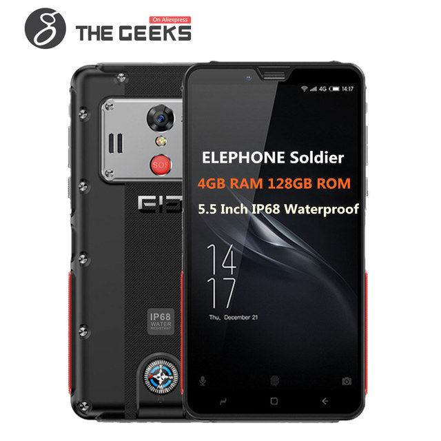 ELEPHONE Soldier IP68 Waterproof 5.5inch 2K Screen 4GB 128GB ROM Helio X25 MTK6797T 2.5GHz Deca Core Android 8.0 4G Smartphone
