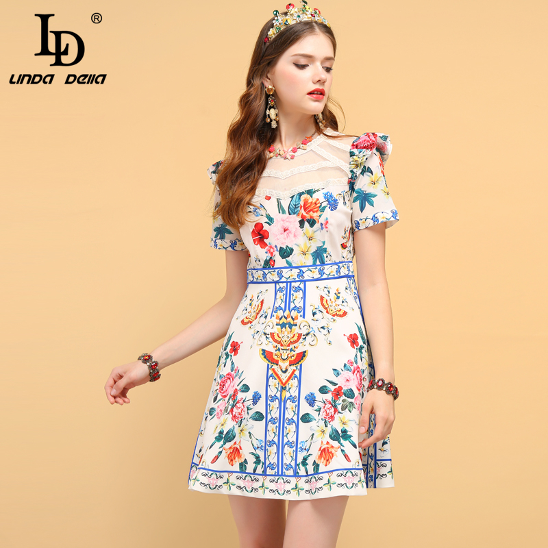 LD LINDA DELLA Fashion Runway Summer Dress Women s Short Sleeve Lace Patchwork Ruffles Floral Print