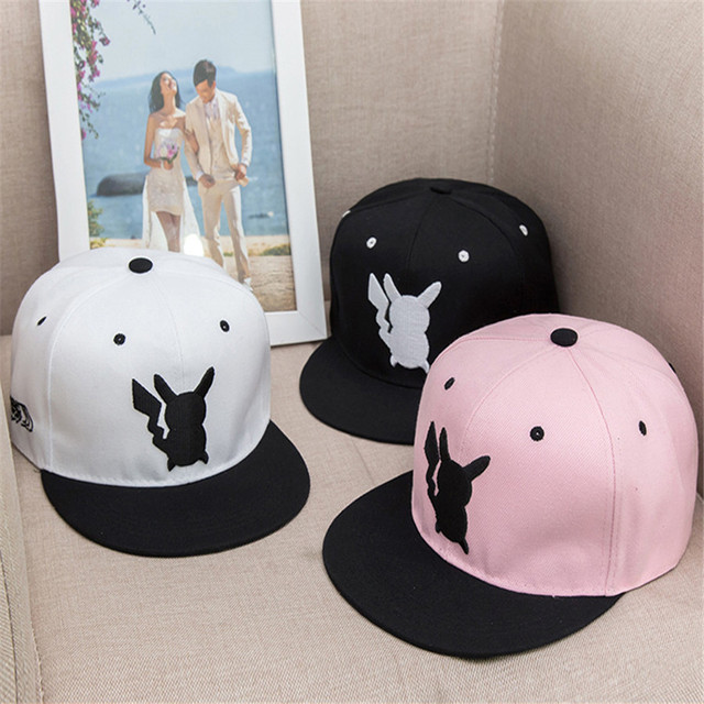f016c4ffacd So Kawaii Hip Hop Women s Hats Pokemon Pocket Monster Pikachu Cosplay Flat  Hat Female Men Baseball Cap Snapback Caps