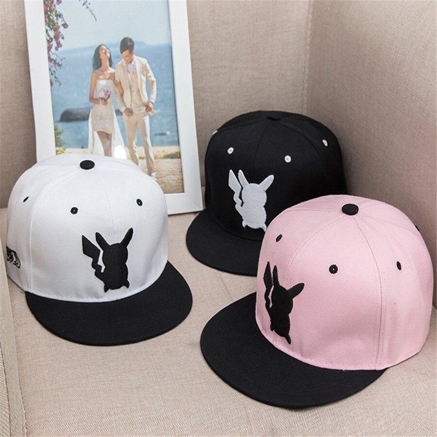 So Kawaii Hip Hop Women's Hats Pokemon Pocket Monster Pikachu Cosplay Flat Hat Female Men Baseball Cap Snapback Caps