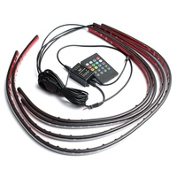 4x Waterproof RGB 5050 SMD Flexible LED Strip Under Car Tube Underglow Underbody System Neon Light Kit W/ Remote Control DC 12V