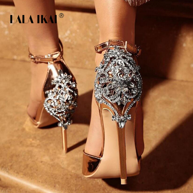 50ea4b81bd52 LALA IKAI Women Crystal Glitter Sandals Pump 2018 High Heels 11CM Sandals  Lady Chic Cover Heel Party Sexy Shoes 014C1195 -4