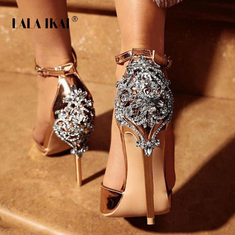 LALA IKAI femmes cristal paillettes sandales pompe 2018 talons hauts 11 CM sandales dame Chic couverture talon partie Sexy chaussures 014C1195-4