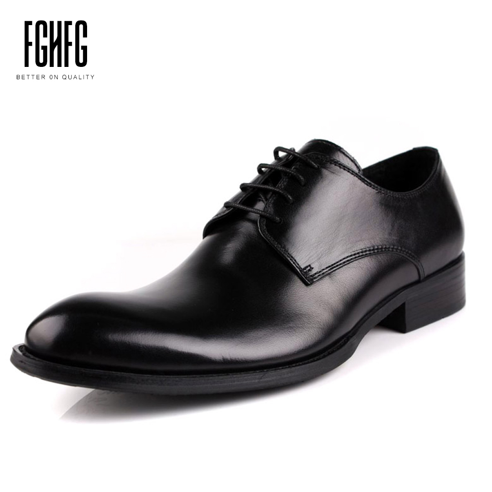 Men's Genuine Leather Shoes Cowhide Leather Pig Inner Round Toe Derbe Shoes Dress Wedding Business 2018 New Fashion classic men s genuine leather shoes cowhide leather pig inner pointed toe derby dress wedding business shoes 2018 fashion