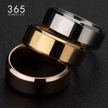 Nova venda quente banda de titânio escovado anel de casamento sólido brilhante 316l anel de aço inoxidável para presente do dia dos namorados