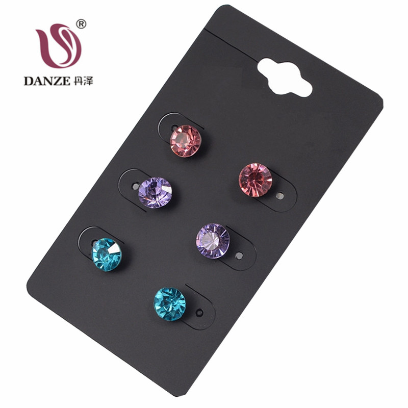 DANZE 3 Pairs/lot Rhinestone Stud Earring Set for Women Girls Female Round Crystal Earing Fashion Party Brinco Wholesale Jewelry