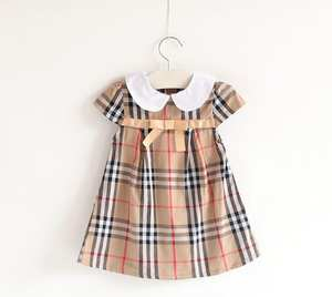 28f367f28 2018 style baby clothing lattice Dress girl summer in China