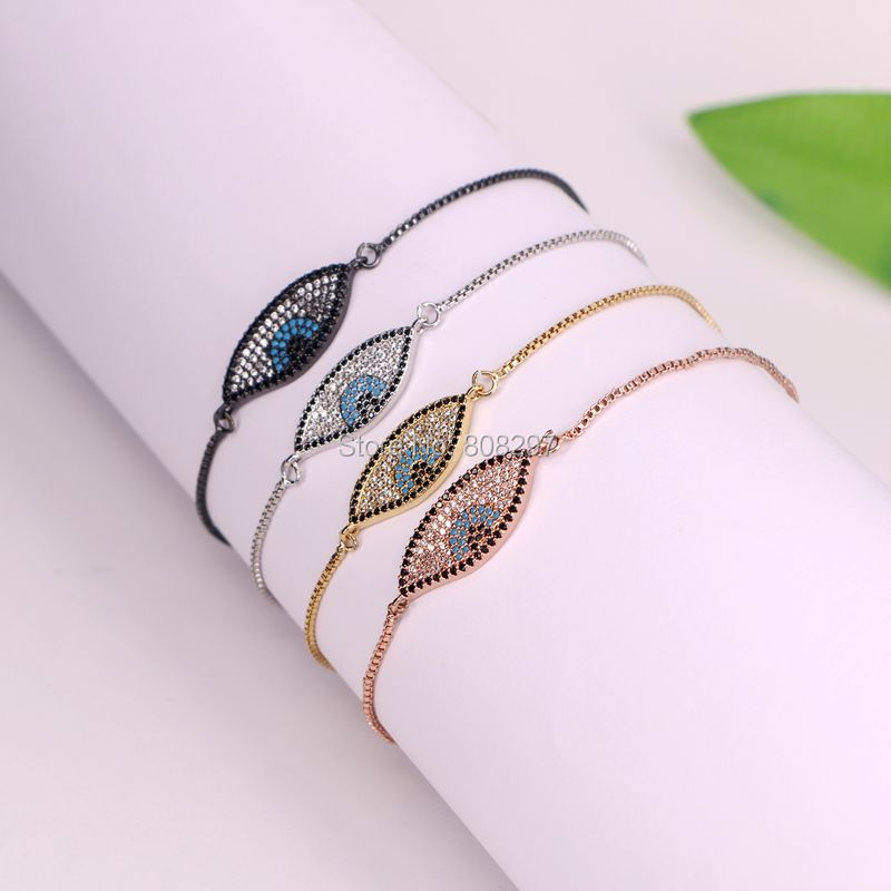Fashion 10Pcs Micro Pave CZ Blue Stone Connector Charm perlina catena - Bigiotteria