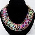 Punk style crystal choker collar babero collar de cadena colorido declaración de moda joyería accesorios de cuello