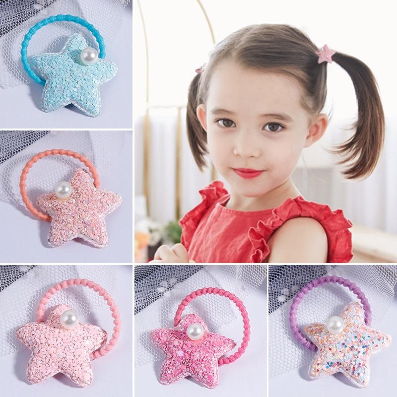 2PCS/Lot Colourful Girls Stars Pearls Elastic Hair Bands Kids Rubber Bands Scrunchies Baby Headbands Headwear Hair Accessories