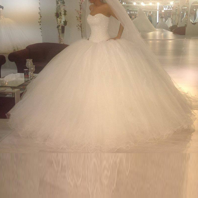 Luxury Custom Made Sweetheart Strapless Beading Shining Lace Up Puffy Big Ball Gown Wedding Dress Vestido