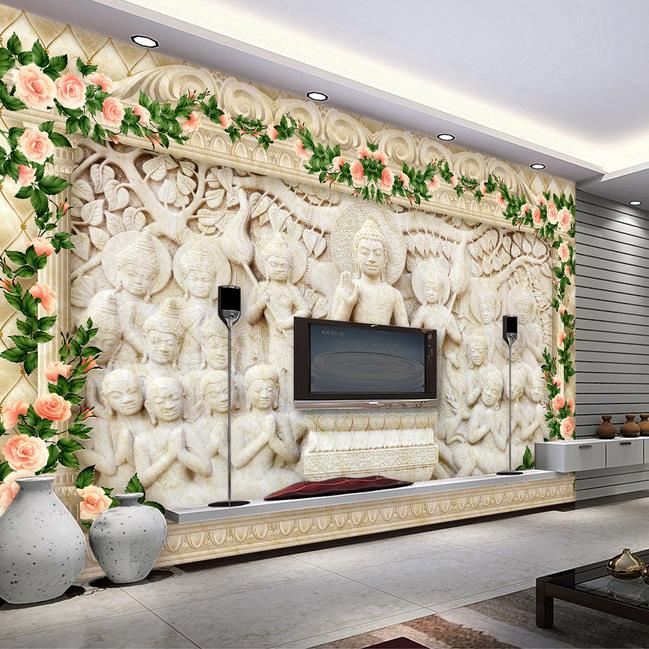 Merveilleux 3d Wallpaper Custom Mural Beauty Non Woven Anaglyph 3 D TV Setting Wall  Carved Stone Buddha Buddhist Culture Wallpaper In Wallpapers From Home  Improvement ...