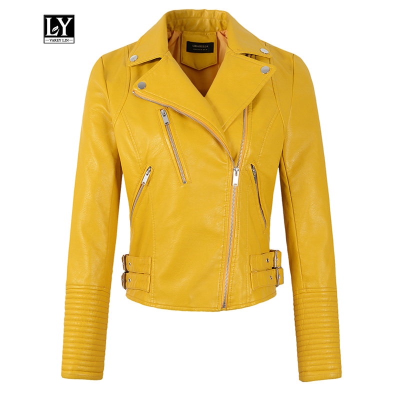 Ly Varey Lin Women Pu   Leather   Jacket Short Punk Coat Spring Faux Soft   Leather   Motorcycle Zipper Black Yellow Female Outerwear