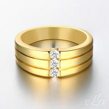 Gold Ring Men Jewelry Vintage Wholesale 18K Real Gold Plated Trendy Party AAA Cubic Zirconia Ring 2016
