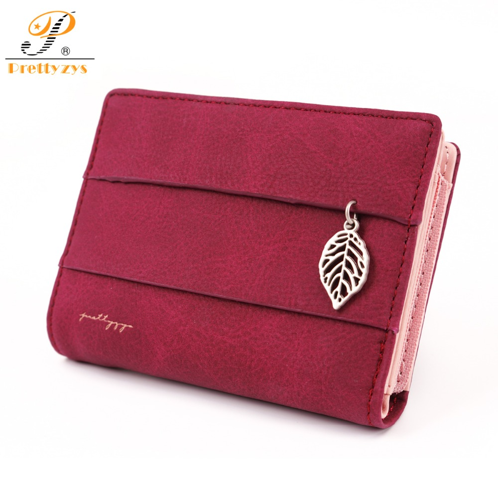 2018 Women Wallet Short Purses PU Leather Female Wallet Perse Card Holder Coin Money Bag Soft Ladies Wallet Small Leaf Red Zip red criss cross leaf print zip front tank