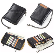 genuine leather wallets for men RFID short wallet zipper men's small coin purse male  card holder man walet