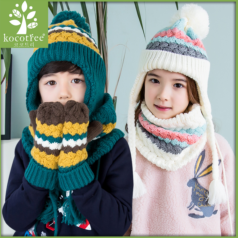 Kocotree  suit  for  3-12 years old  children  unisex  cap  scarf  gloves winter  warm  three  piece  sets novelty women men winter warm black full face cover three holes mask beanie hat cap fashion accessory unisex free shipping