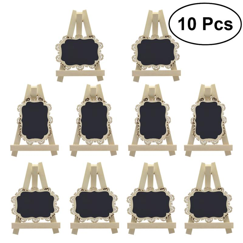 10pcs Mini Rectangle Chalkboards with Easel and Decorative Border for Wedding Party Table Number Sign Place Card Tag