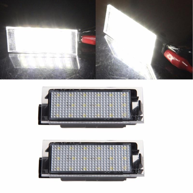 2шт 18 LED номер номерного знака свет DC 12V для RenaultTwingoMeganeLaganeVelSatis СИД 3528 SMD 6000K Белый автомобилей задний фонарь