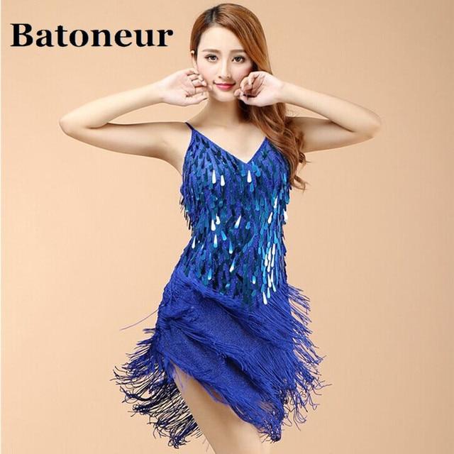 Shining V Neck Stage Clothing Costume Latin Dance Dresses Women s Art Deco  1920s Gatsby Tassel Fringe e112400d672a