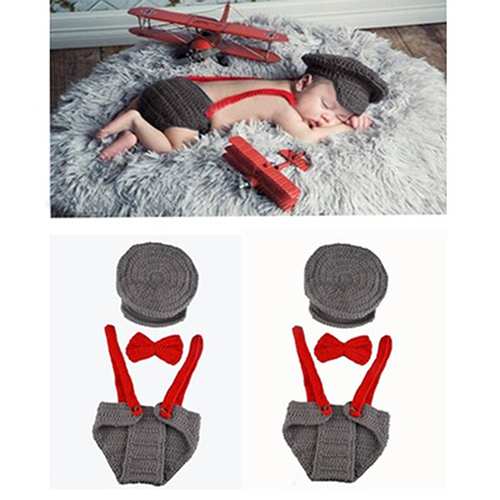 Newborn Baby Girl Boy Lovely Knit Hat + Bow Tie + Overall Photography Prop Suit baby cook costume photo photography prop white newborn hat aprons