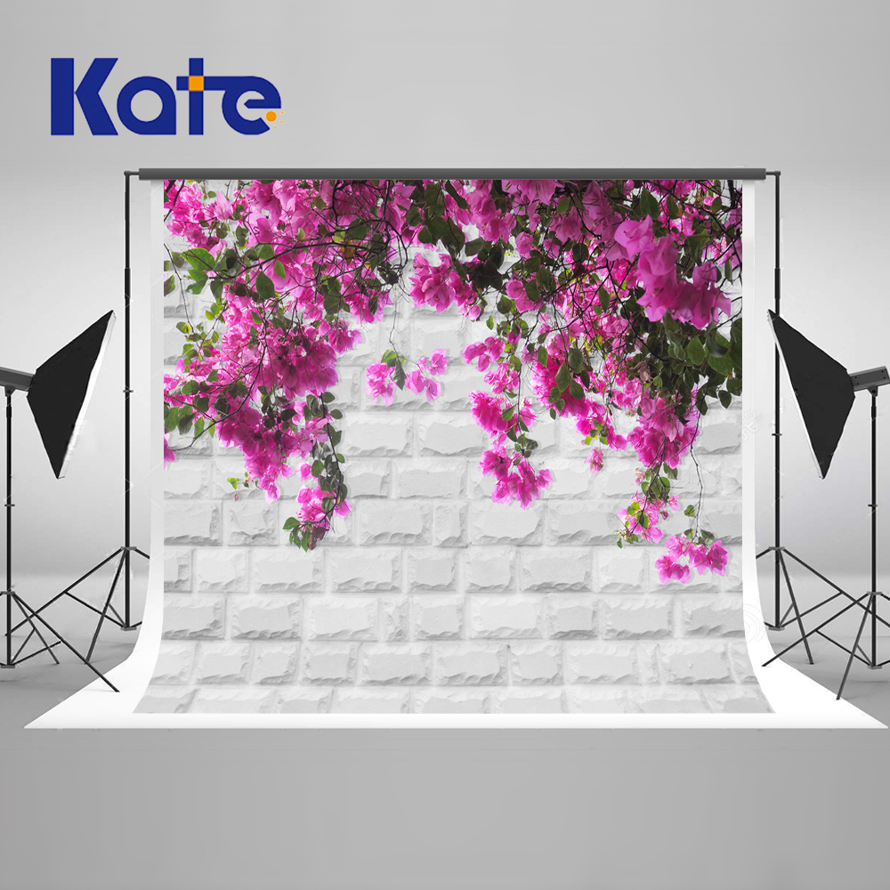 5x7ft Kate White Brick Wall Photography Backdrops Purple Flower Photographer Background Children Photography-Studio-Backdrop 5x7ft white backdrop board photo background photography white studio cloth flower rattan corridor