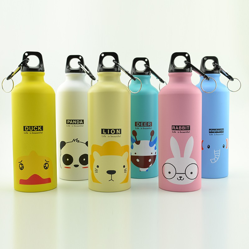 500ml Cute Candy Color Cartoon Pattern Aluminum Water Bottle For Adlut Children Kitchen Accessories Aa