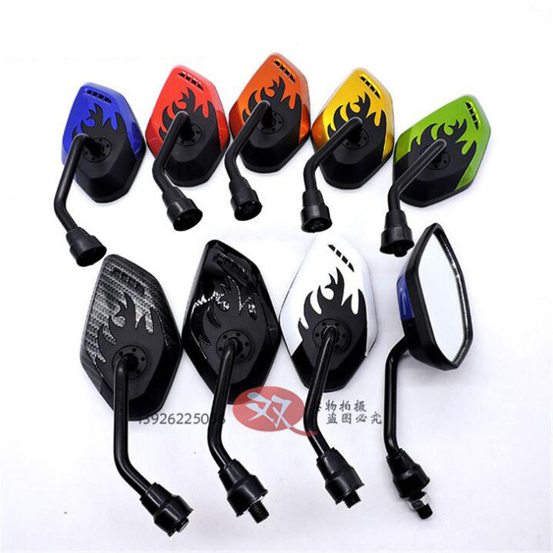 Colors Available Flame Shape Motorbike Backup Mirror for Suzuki Kawasaki Yamaha 8mm 10mm motorcycle mirrors moto rearview mirror
