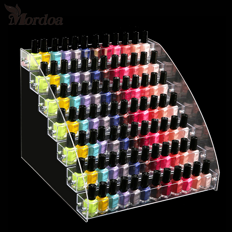 Acrylic Nail Polish Display Organizer 2-3-4-5-6-7 Layer Manicure Cosmetics Jewelry Display Stand Holder Clear Acrylic Makeup Box