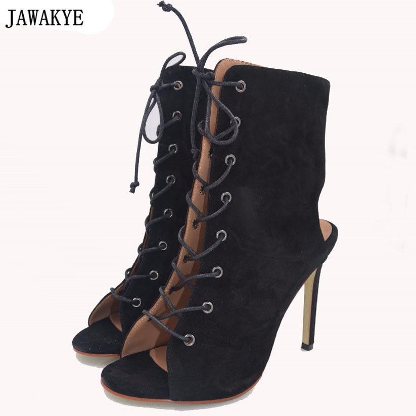 JAWAKYE women pumps peep toe high heels rome gladiator sandals shoes woman party wedding kid suede stiletto lace up summer boots cdts 35 45 46 summer zapatos mujer peep toe sandals 15cm thin high heels flowers crystal platform sexy woman shoes wedding pumps