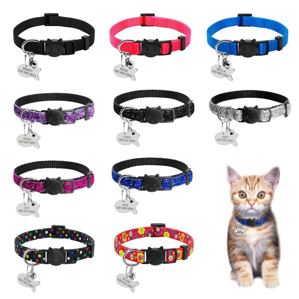 Защитные ошейники для кошек, быстросъемный ошейник для котенка, персонализированный ошейник для кошек, ожерелье с колокольчиком для щенка ...