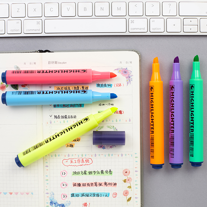 1PC Highlighter Triangle Rod Fluorescent Pen For Drawing Graffiti Markers Yellow Green Blue Orange Purple School Office Supplies