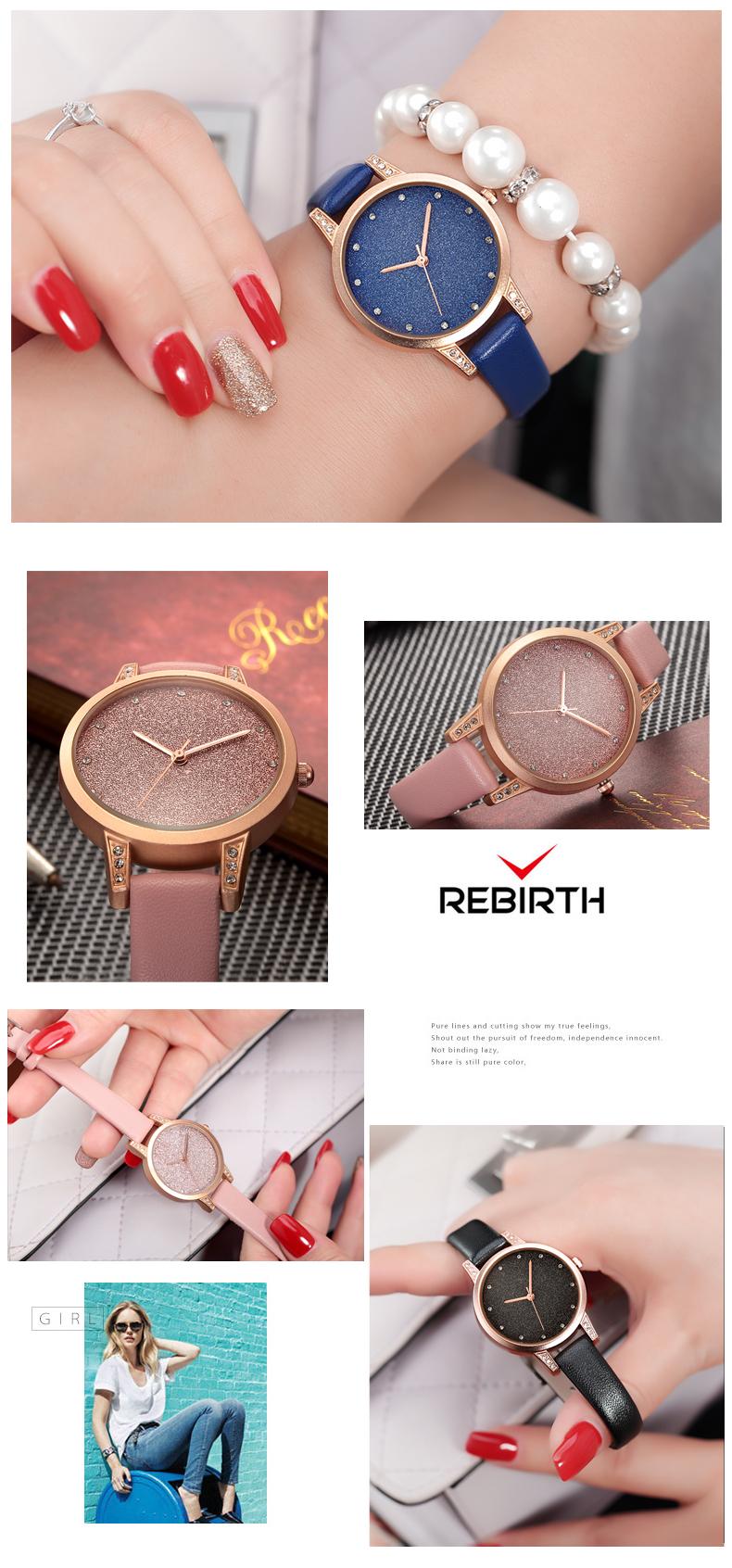 Women Watches REBIRTH Rhinestone Luxury Lady Wristwatches Leather ... 667ab5a76ee01