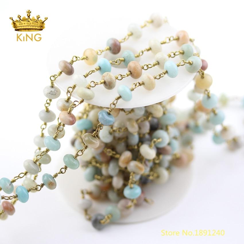 5 mètres de résultats de chaînes de chapelet, Amazonite naturelle Rondelle lisse perles en vrac chaînes fil enroulé chaîne de cuivre en laiton plaqué ZJ240