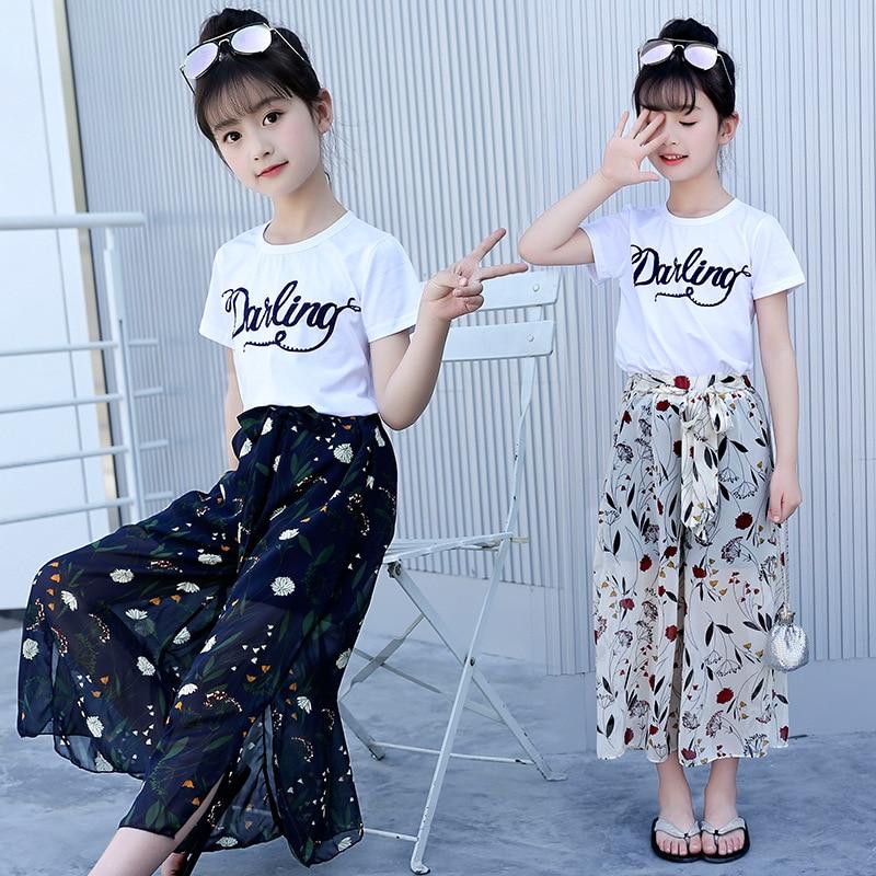 Girls Clothing Sets Cotton T shirt+Chiffon Wide Pants ...