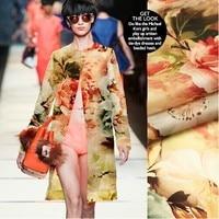 135cm 14mm big flower print red yellow silk organza fabric for dress shirt clothes pants 003