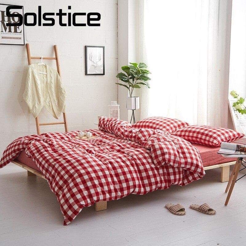 Solstice домашний текстиль красная клетчатая решетка пододеяльник наволочка плоский простынь скандинавский простой хлопковый комплект посте