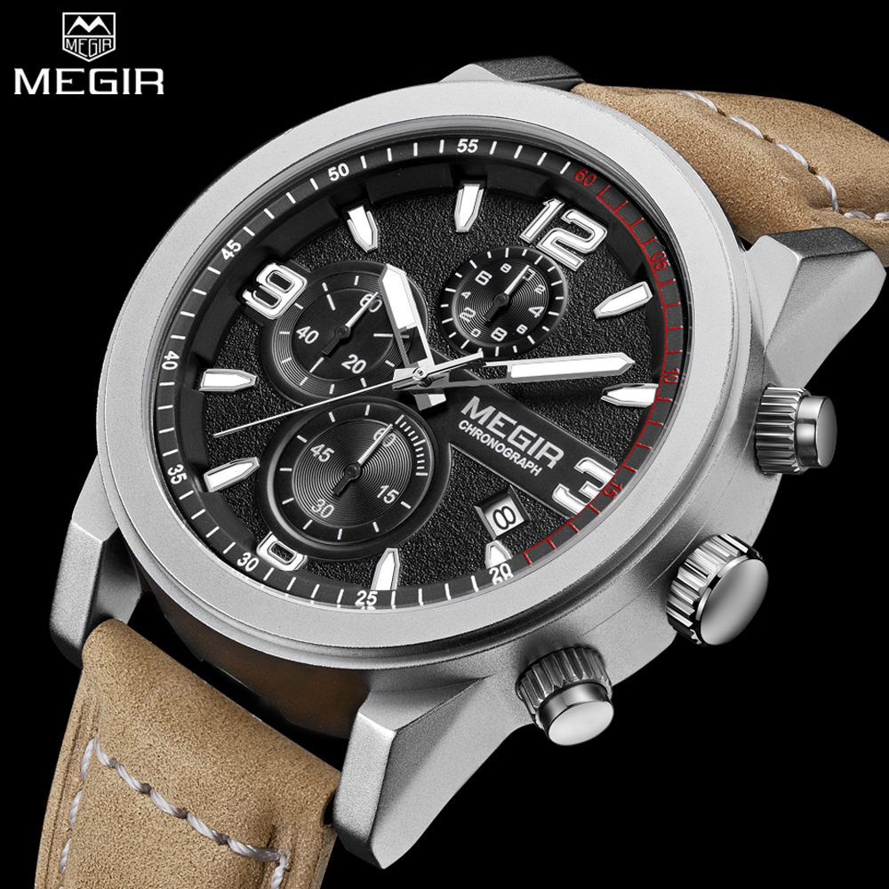 MEGIR Men Casual Watch Chronograph Engraved Dial Genuine Leather Auto Date Multifunction Waterproof Watch Male Glow