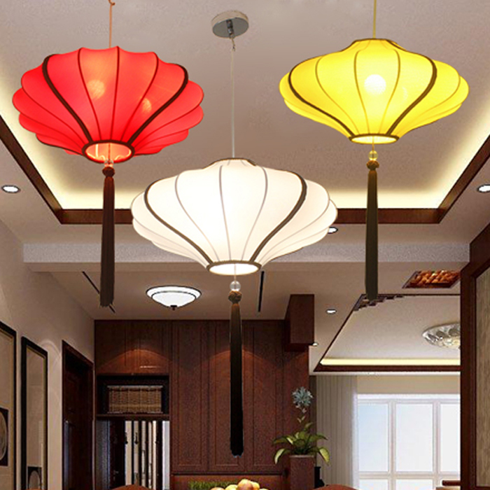 E27 Modern new Chinese hand-painted cloth lantern bedroom study restaurant chandelier classical hotel lobby tea hall walkway E27 Modern new Chinese hand-painted cloth lantern bedroom study restaurant chandelier classical hotel lobby tea hall walkway