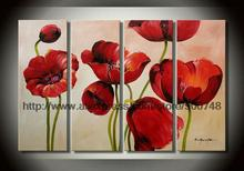 Pure Oil Painting Quadruple Four Products Painting Subtle Poppy Painting  Abstract Music Wall Art Kitchen Decor