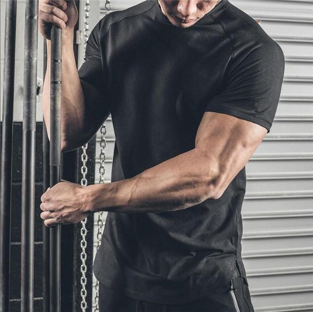 2020 New Brand Clothing Mens Black short sleeve t shirt Hip Hop extra long tops tee tshirts for men cotton gyms t-shirt 2