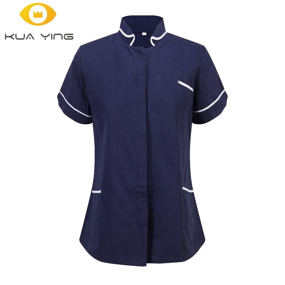 Summer women hospital medical scrub clothes set sale design slim fit dental scrubs beauty salon nurse spa uniform