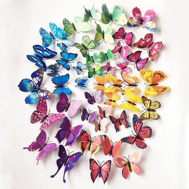 72pc Butterflies Wall Stickers Home Decor Art Wall Decals For Kids Room Wall Stickers Kitchen Wall Sticker Decoration Poster