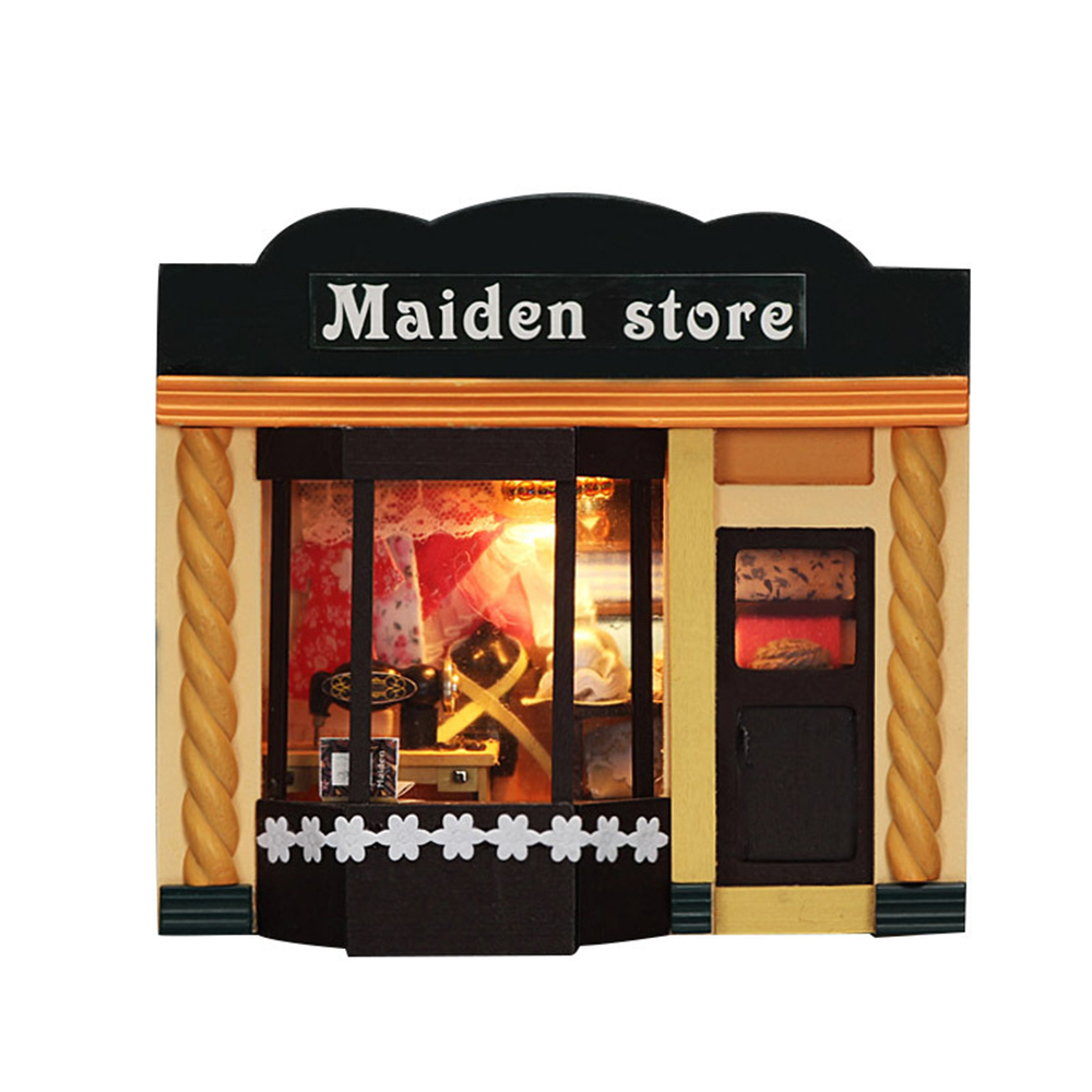 DIY Miniature Room Wooden Doll House Maiden Store with Furniture LED Lights Dollhouse Toys for Children