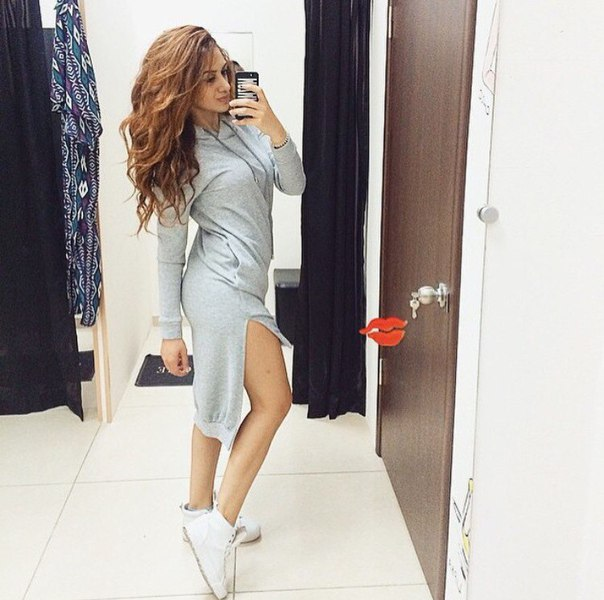 c89895c20756 Autumn 2015 Fasion Irregular Sweatshirt Dress Plus Size Loose Cotton Women  Sweatshirt Grey Long Sleeve Hooded Lace Hoodies Women