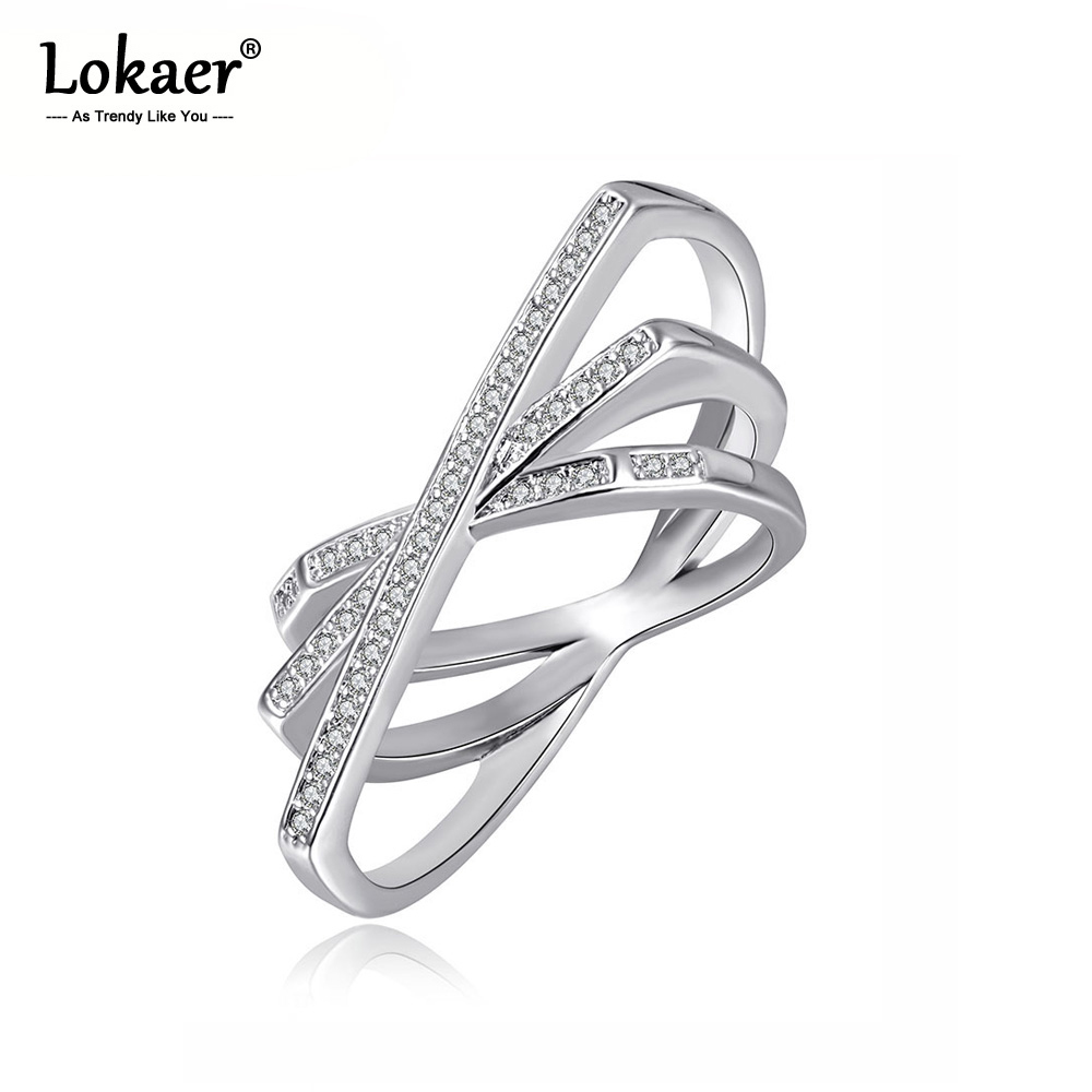 Lokaer Rings for Rhinestone Bohemia-Design Women Jewelry Geometric-Shape Silver-Color title=
