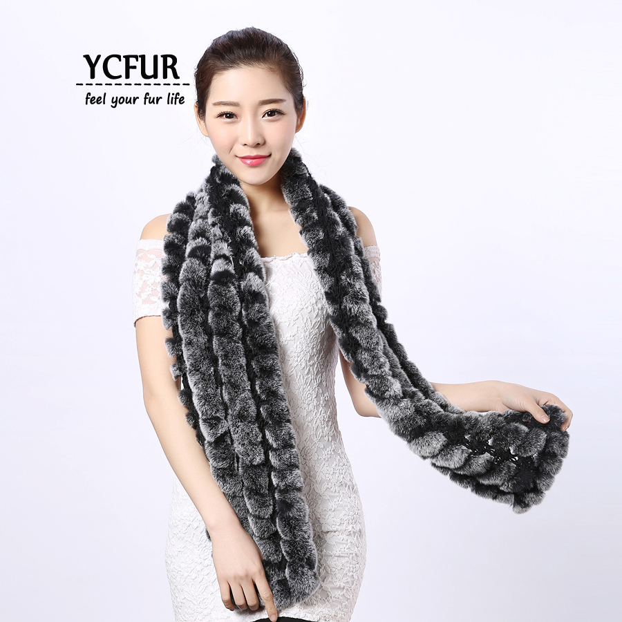 d39cae1dc265f YCFUR Women Scarves Wraps Winter Knit Natural Rex Rabbit Fur Scarf Shawl  Female Soft Warm Real Fur Long Scarf Girls