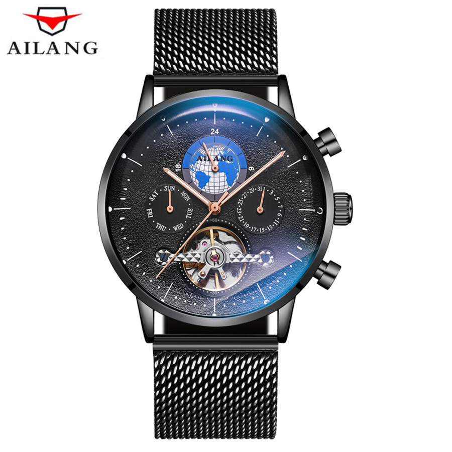 AILANG Black Stainless Steel Waterproof Mens Tourbillon Skeleton Watches Top Brand Luxury Transparent Mechanical Male Wristwatch-in Mechanical Watches from Watches    1